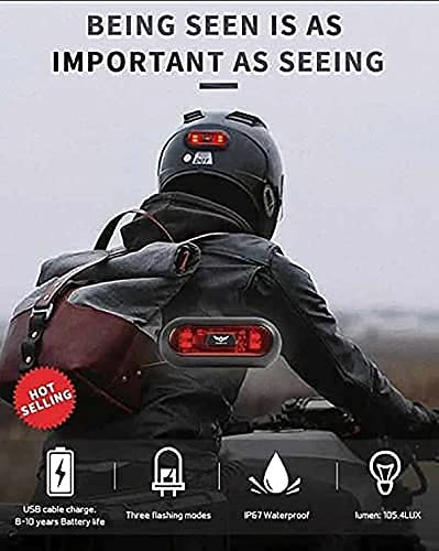 VERSATTA LED Motorcycle Helmet Light, Bike Bicycle Rear Red Safety Light, Helmet Light, Warning Tail Lights, Helmet Light for Night Riding with USB Chargeable Cable
