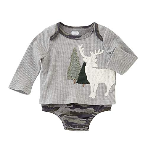 Mud Pie Stag All In One Crawler, Cinza, 6-9 Months