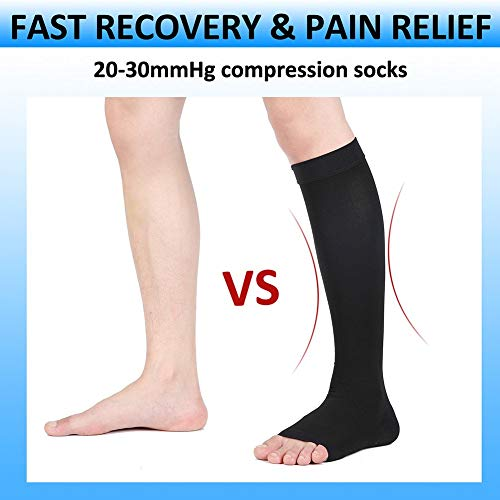 Compression Socks, Open Toe, 20-30 mmHg Graduated Compression Stockings for Men Women, Knee High Compression Sleeves for DVT, Maternity, Pregnancy, Varicose Veins, Relief Shin Splints, Edema, Black L