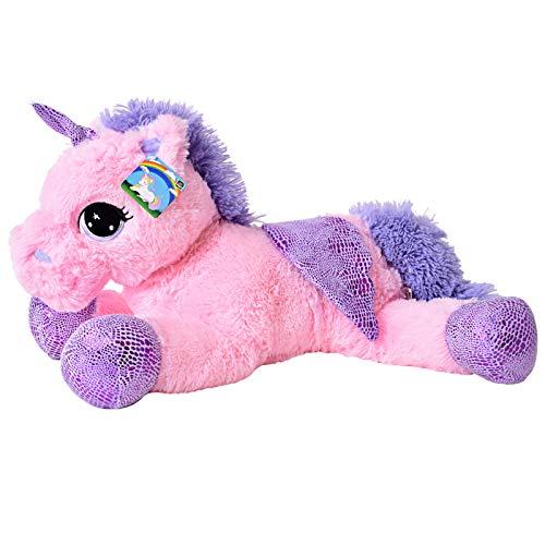 TE-Trend Plüschpferd Einhorn Unicorn liegend 60cm pink mit lila Applikationen und Flügel in Regenbogenfarben