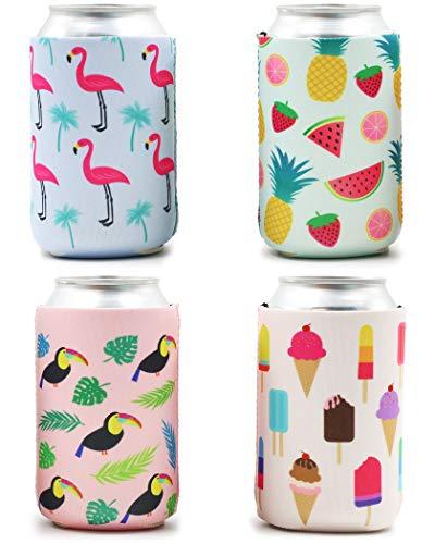 Válvula de cerveza – 12 unidades de cubiertas para bebidas con tapas aisladas, 12 oz neopreno enfriadores para soda, cerveza, lata, 4 diseños, 2,5 x 2,5 x 4,2 pulgadas