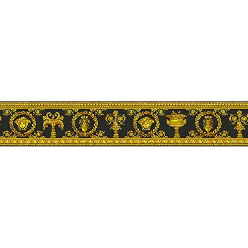 Cenefa estilo barroco barroco amarillo gris negro/antracita 343051 34305-1 Versace Versace 3 | amarillo/gris/negro/antracita | Rollo (5,00 x 0,09 m) = 0,45 m²