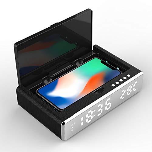 QINQI - Cargador inalámbrico con caja de desinfección ultravioleta para teléfono móvil, espejo LED, reloj despertador, termómetro digital inalámbrico, HD, color negro