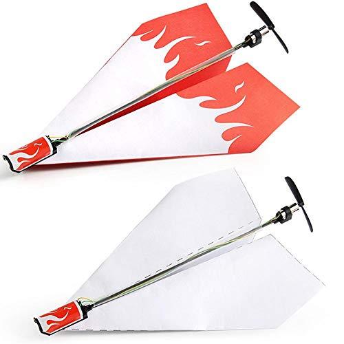 T best Elektrisches Papierflugzeug, Kinder Falten DIY Papierflugzeuge Umbausatz Motor Elektrisches Papierflugzeug Flugzeug Modell Spielzeug für Kinder Erwachsene(Flugzeug)