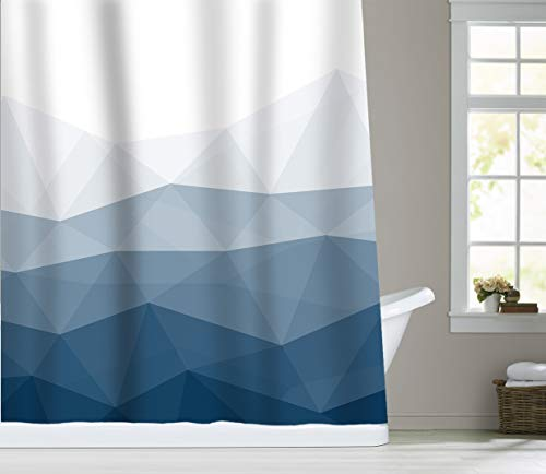 Sunlit Blaue Geometrische Duschvorhang, Polyester Textil, Vorhang für Zuhause, Büro, Urlaub, Wanddekoration als Wandteppich & Fotokabine Hintergr&, 180 * 180cm
