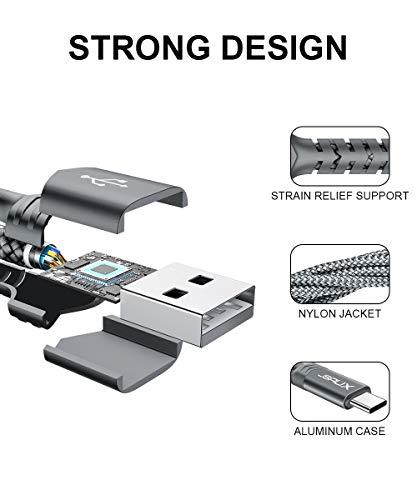 JSAUX USB C Kabel [2 Stück 2M ] Nylon Typ C Ladekabel für Samsung Galaxy S10 S9 S8 Plus,Note 10 9 8,A3 A5 2017,LG G5 G6 V20,HTC 10 U11,Sony Xperia XZ Xa1, Huawei P30 P20 Mate 20 Lite P10 P9 usw (Grau) - 5
