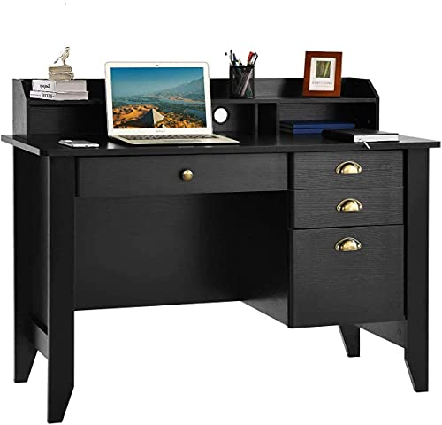 desks Computer Desk with Drawers and Hutch, Executive Desk Teens Study Student Desk Writing Home Office Desks for Bedroom Small Spaces Wood Furniture, Vintage Style Black