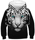 OPCOLV Teen Boy Hoodie All Over 3D Printed Tiger Graphic Hoodie Sweatshirt for Casual Party School 14-16t