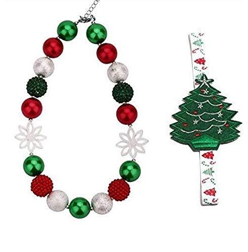 1Set Kid Bead Collar de BRICOLAJE de los niños rojo verde blanco perlas de Navidad Verde Niño Grueso Collar Gargantilla Collar de Mejor Regalo Collar más banda para el pelo Joyería de Moda Niños Niñas