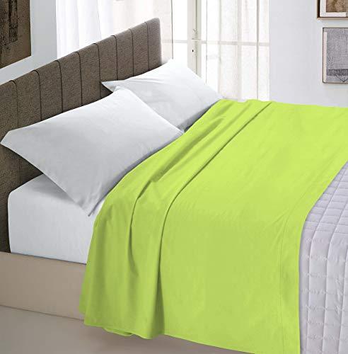 Italian Bed Linen Max Color Lenzuolo Sopra Tinta Unita, 100% Cotone, Singolo, Verde Acido, 150 x 300 cm