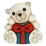 THUN - Soprammobile Orso Polare Natalizio con Pacco Regalo - Accessori per la Casa da Collezionare - Linea Un Pensiero Felice - Formato Medio - Ceramica - 12 x 9,8 x 12 h cm