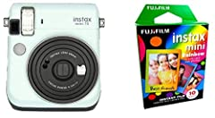 Instax Mini 70 Camera Icy Mint - Fujifilm Instax Mini Instant Rainbow Film Pack Selfie mode for easy, excellent self portraits: The instax mini 70 features a new 'Selfie' mode for taking perfect selfies. Just press the selfie button when shooting and...