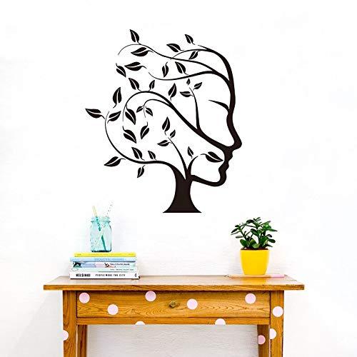 Blrpbc Adhesivos Pared Pegatinas de Pared Árbol Moderno Naturaleza Abstracta Mujer Cara niña habitación Dormitorio árbol niña Cara Sala de Estar decoración de Vinilo 101x86cm