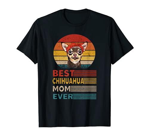 Mejor Chihuahua Mamá Nunca Retro Vintage Puesta de sol Camiseta