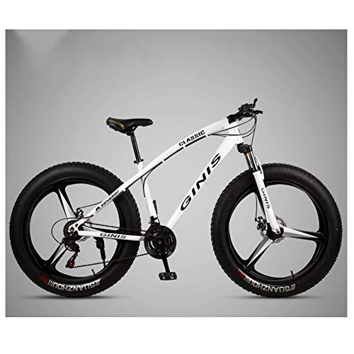 NENGGE Adulto Bicicleta Montaña 26 Pulgadas Neumático Gordo, Profesional Hard Tail MTB para Hombre Mujer, Doble Freno Disco Bicicleta BTT, Doble Suspensión Ciclismo,3 Spoke White,24 Speed