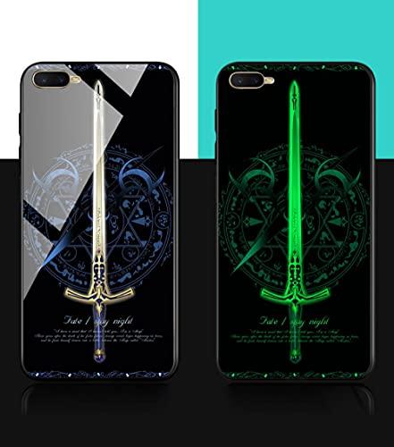 Funda para Teléfono,Estuche para iPhone con Cordón Estuche Protector Resplandor Nocturno Anime 3D Espada Carcasa De Vidrio Templado Borde Suave Antifricción Compatible con iPhone 11ProMax