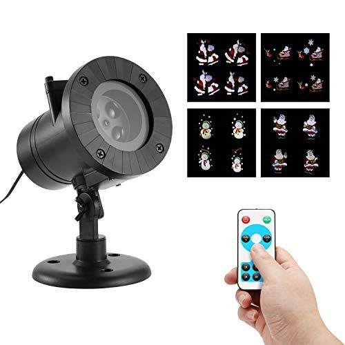 Proiettore A LED Per Esterni,Lampada Per Paesaggio Natalizio Dei Cartoni Animati,Timer Remoto A 4 Modalità Proiettore Di Paesaggio Impermeabile Per Feste Natalizie