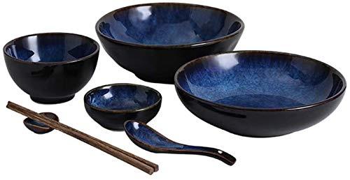 GZA Europea Retro Azul De Cerámica del Vajilla del Hogar Sopa Plato De Arroz Creativa del Plato Placa/Cuchara/Palillos, 1 Persona Set De Cubiertos para lavavajillas