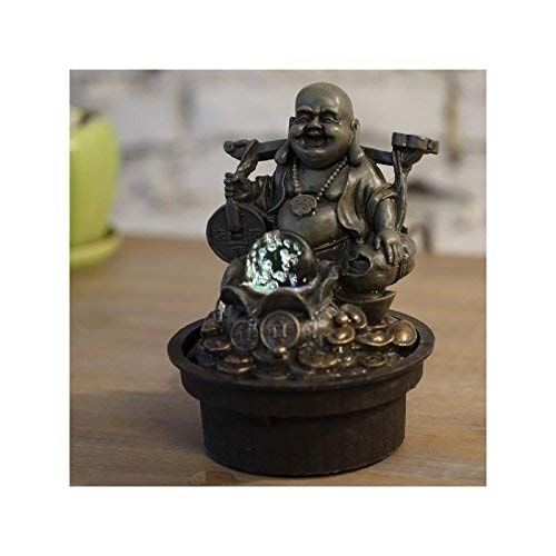 Zen\' Light Buda Voyageur Fuente, Resina, Bronce, 17x 17x 22cm