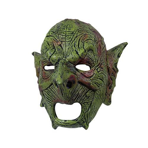 WWWL Halloween Maske Goblin Maske Evil Orc Masken griechischer Zwerg Gesichtsmasken Latex Mascarillas Goblinoid Mascaras Halloween Kostüm Karneval Helm Prop Goblinmask
