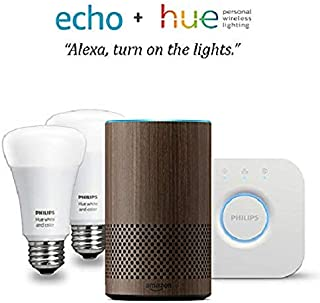 Echo (2nd Gen) - Walnut Finish with Philips Hue White and Color Smart Light Bulb Starter Kit