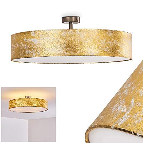 Deckenleuchte Foggia, runde Deckenlampe mit Lampenschirm aus Stoff in Gold/Weiß, Ø 60 cm, LED-fähig, 3 x E27-Fassung, 40 Watt, Retro-Design