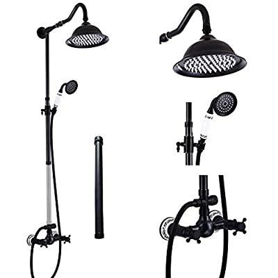 Aolemi Oil Rubbed Bronze Shower Faucet Set with 12 Inch Extension Tube 8 Inch Rain Shower Head System Handheld Shower Fixture Wall Mount Double Cross Handle
