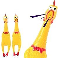 Pclife びっくりチキン ペットもよろこぶ 2セット 大声で鳴くニワトリ 押し叫ぶ 面白い 鋭いチキン鳴き声 おもちゃ 約31cm