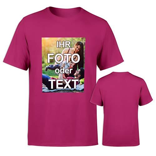 T-Shirt mit eigenem Foto Text Logo Name selbst gestalten * ringgesponnene Baumwolle * vollfarbig EINSEITIG Bedruckt * viele Farben, Größe: L, Farbe: Pink