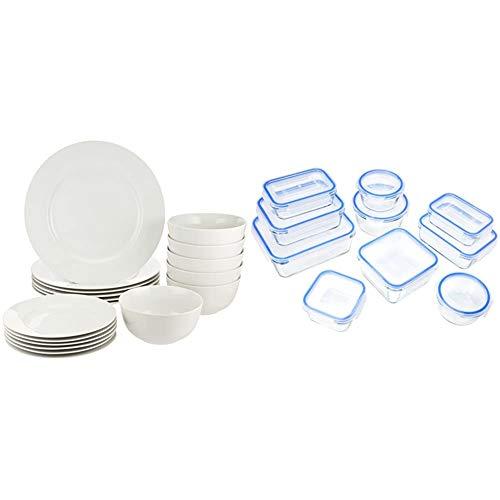 Amazon Basics - Vajilla para 6 personas (18 piezas) + Recipientes de cristal para alimentos, con cierre 20 piezas (10 envases + 10 tapas), sin BPA