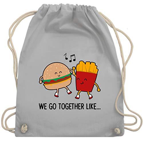 Shirtracer Valentinstag - We go together like. Burger und Pommes - Unisize - Hellgrau - Geschenk - WM110 - Turnbeutel und Stoffbeutel aus Baumwolle
