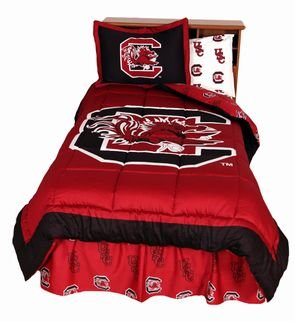 South Carolina Gamecocks (3) Piece King Size Reversible Comforter Set - Includes: (1) King Size Reversible Comforter and (2) Pillow Shams by Bundling!