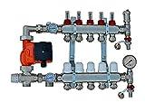 Juego de regulación de valor fijo para calefacción por suelo radiante de acero inoxidable, distribuidor de circuito de calefacción (6 círculos).