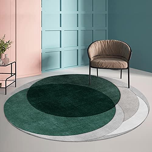 Alfombras circulares verde gris 80cm 100cm 120cm 140cm 160cm 180cm 200cm Alfombra redonda grande para sala de estar Sofá Mesa de centro Alfombra impermeable fácil de limpiar ( Size : Diámetro 100cm )