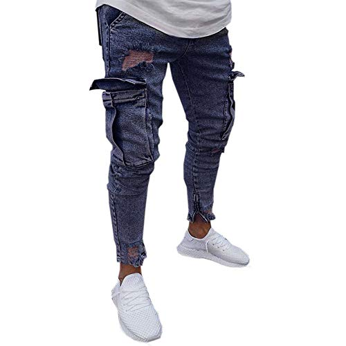 Aiserkly Herren Stretch Denim Pant Distressed Ripped Freyed Slim Fit Pocket Jeans Hose Marine S