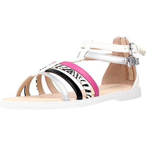 Geox J Karly Girl Flat Sandal, WHT/Silver/Black, 35 EU