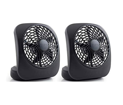 O2COOL Treva Portable 5 Inch fan, 2 Units, Black