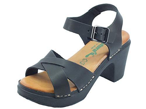 BioNatura 64A2015 Gaubra Gaucho Schwarz Sandalen mit hohem Absatz für Damen in Holzoptik, Schwarz - Schwarz - Größe: 39 EU
