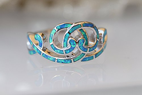 Rebeka jewelry ,BLUE OPAL RING, Gemstone Jewelry, Engagement Ring, Celtic Knot Ring, 925 Sterling Silver Ring, Promise Ring, Eternity Ring, Infinity Ring