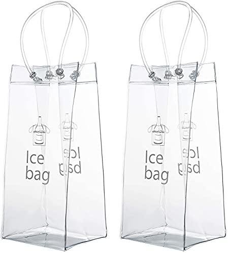 CHUANGFU Paquete De 2 Bolsas Portátiles Plegables De PVC Transparente para Vino con Hielo, Bolsa Refrigeradora con Asa para Fiestas, Bares, Exteriores, Champán, Cerveza Fría, Vino