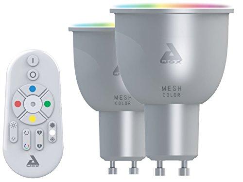 AwoX SKR2LMC5GU10 - Juego de 2 bombillas LED y mando a distancia, plástico/resina, GU10, 30 W, color blanco, Estándar