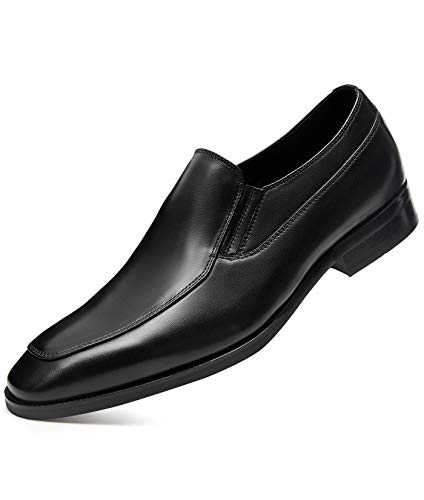 GIFENNSE Men's Dress Shoes Slip-on Loafers Leather Formal Shoes for Men 10.5 Black