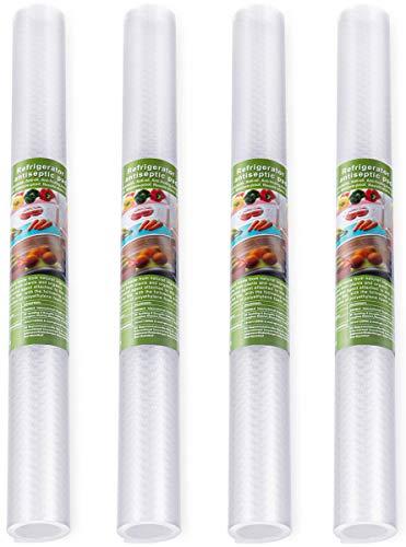 4 Pcs Antibakterielle Kühlschrank Matten DIY Waschbare Wasserdichte Antirutschmatte Schubladenmatte Antimehltau Antibakterielle Schubladeneinlage für Kühlschrank und Schublade-40x150cm (Transparent)