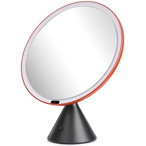 TIGOD Wireless LED Makeup Mirror with Lights Smart Sensor Bathroom Mirror - Rechargeable Battery Operated Dimmable Brightness and Lighting Colors Adjust Vantity Mirrors