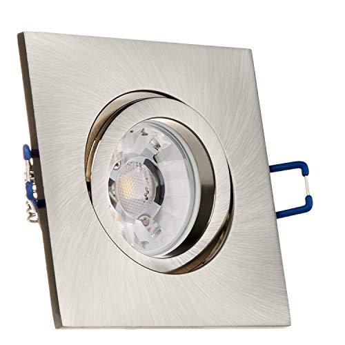 LEDANDO Einbaustrahler Set für Spanndecken Silber gebürstet 7W DIMMBAR COB LED GU10 Deckenstrahler - Spots - Deckenspots - Deckspot