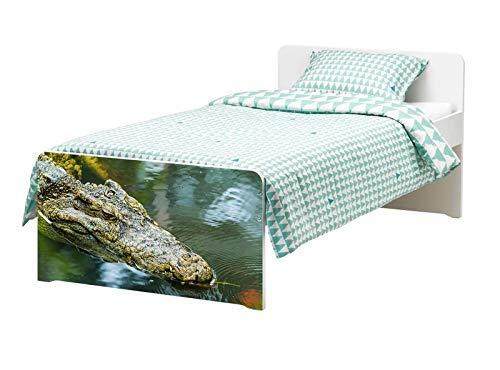 Möbelaufkleber für Ikea SLÄKT Bett Alligator Krokodil Auge Kat6 Wasser Tier bed Aufkleber Möbelfolie Tür sticker Folie (Ohne Möbel) 25K016