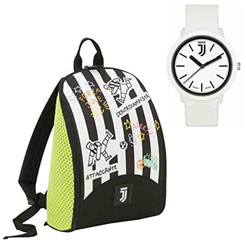 Juventus - Mochila niño, 24,5 x 34 x 14 cm, con Bolas y Reloj Original de la Juventus Seven, Color Blanco y Negro