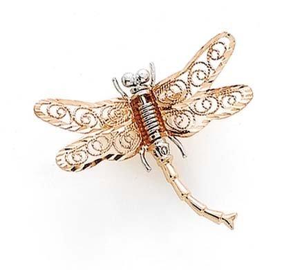 14ct dos-Tono de la libélula de pasador - JewelryWeb