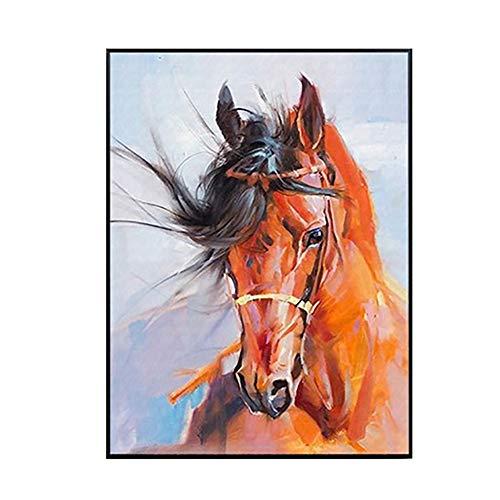 Paard met de hand geschilderd olieverfachtig modern abstract dierlijk acryl schilderij Small goud