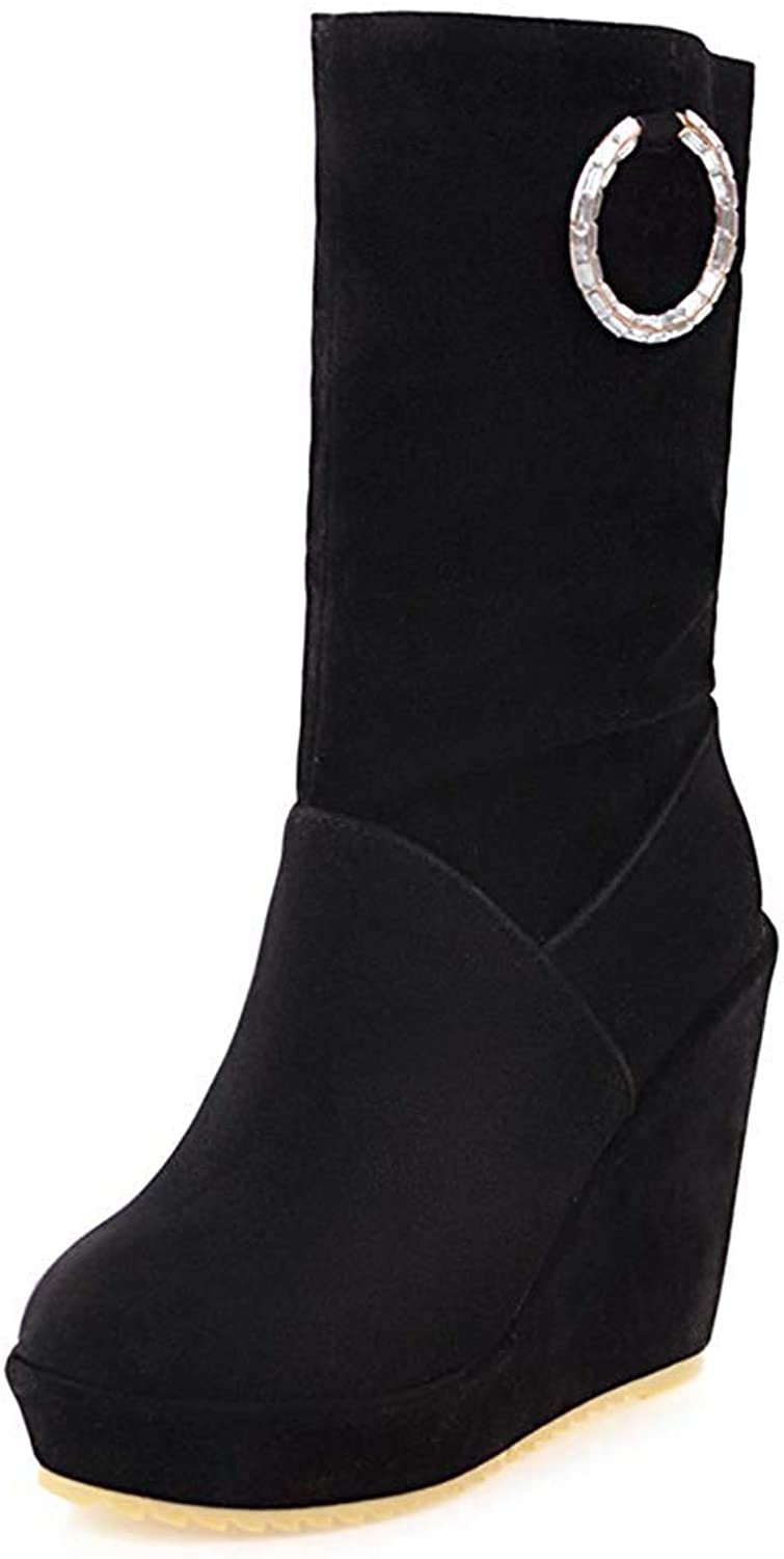 Unm Women's Simple Ruched Pull On Round Toe Platform High Heel Wedge Mid Calf Boots